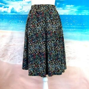 LulaRoe Madison Skirt Black Multi Size L 12/14